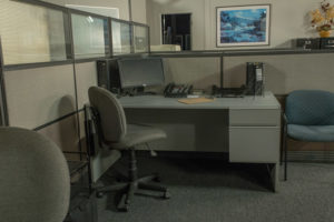 office standing set for filming in los angeles